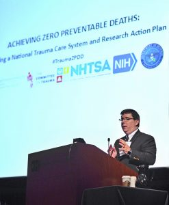 """Ronald Stewart, MD, FACS, presenting at the 2017 """"Achieving Zero Preventable Deaths"""" Conference in Bethesda, Md."""